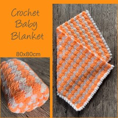 Vibrant orange crochet baby blanket, Newborn or baby shower gift, Hand made