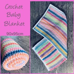 Rainbow stripes crochet baby blanket, Newborn or baby shower gift, Hand made