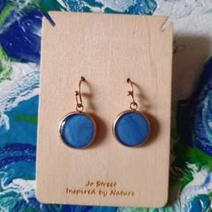 Sky blue rose gold drop earrings