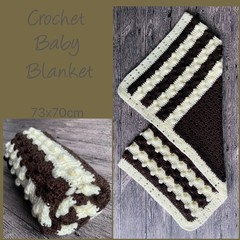 Chocolate bubble crochet baby blanket, Newborn or baby shower gift, Hand made