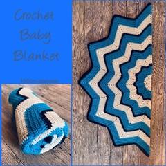 Crochet baby blanket, blue, white, black, 12 point star, gift, hand made