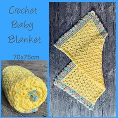 Lemon shell stitch crochet baby blanket, Newborn or baby shower gift, Hand made