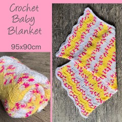 Yellow, pink, white wave crochet blanket, Newborn or baby shower gift, Hand made