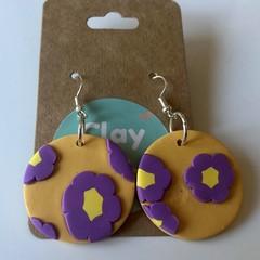Purple and mustard flower dangles - polymer clay earrings