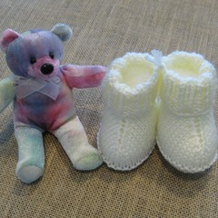 "Hand made cream ""snuggly"" boots"