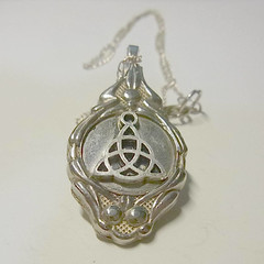 Triquetra celtic charm Pendant necklace is a recycled  cutlery spoon handle