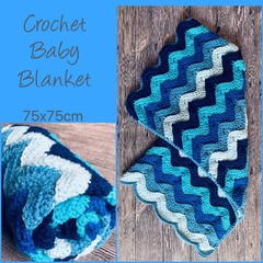 Crochet baby blanket, blue wave, gift, Hand made