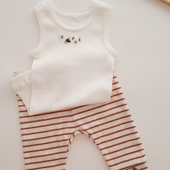 Hand-Embroidered Newborn Singlet & Pant/Legging Baby Boy Outfit Baby Shower Gift