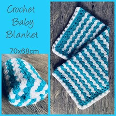 Blue + white wave crochet baby blanket, Newborn or baby shower gift, Hand made