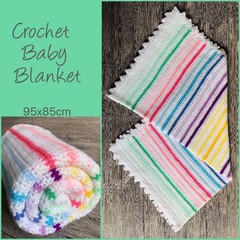 Crochet baby blanket, white with alternating rainbow stripes, gift, hand made