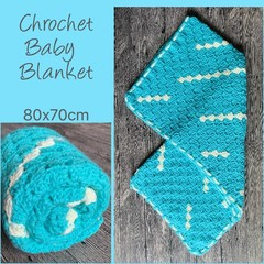Crochet baby blanket, blue with white splash, gift, Hand made