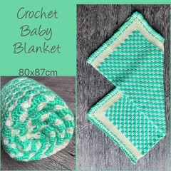 Mint green + white crochet baby blanket, Newborn or baby shower gift, Hand made