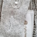Hand-Embroidered Cotton Grey Knit Overalls Newborn Baby Shower Gift Winter Boy