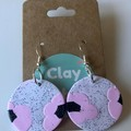 Abstract baby pink and sparkle black flower dangles - polymer clay earrings
