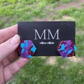 Blue, Purple and Pink Glitter Hexagons  Resin Stud Earrings - Large