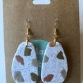 Neutral glitter dangles - polymer clay earrings