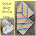Crochet baby blanket, pastel, rainbow, stripes, gift, hand made