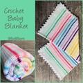 Crochet baby blanket, white with alternating rainbow stripes, gift, hand made