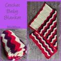 Crochet baby blanket, pink, purple, cream, wave pattern, gift, hand made