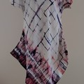 White Silk Tunic with Navy/Tangarine Shibori XMas Gift for Her