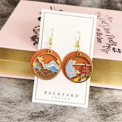 Handmade Dangle and Drop Earrings with landscape design/ asymmetry earrings