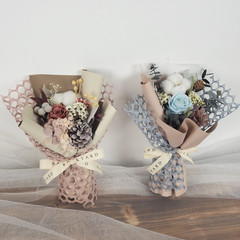 Handmade Big Bouquet/ Preserved Flower Bouquet with Cotton Flowers and Roses