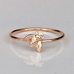 Tiny gold bee ring