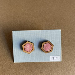 Pink - Fabric and Wood earrings