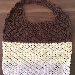 Ombre Lacy String Bag in Cream, Lemon and Brown