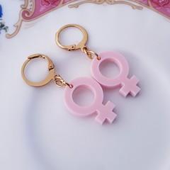 Pink Venus Symbol Earrings