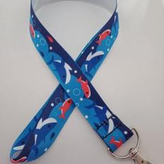 Blue shark print lanyard / ID holder / badge holder