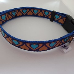 Blue and gold heart adjustable dog collars small / mediium