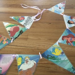Mermaid bunting banner flag birthday party banner upcycled bedroom