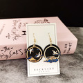 Handmade Dangle and Drop Earrings with asian landscape and crane design