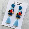 Tassel Statement earrings in polymer clay, primary splash
