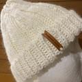 Cream alpaca ladies or mens knitted beanie wool blend pompom