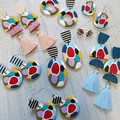 Statement earrings in polymer clay, primary splash
