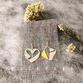 handmade asymmetry earrings with colorful heart and square shape