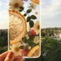 Handmade pressed flower and pressed fruit phone case