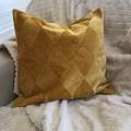 Mustard/Yellow Diamond design velvet coushion cover