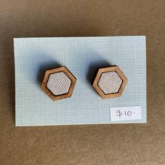 Grey - Fabric and Wood earrings
