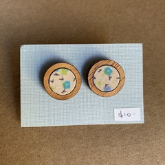 Floral - Fabric and Wood earrings