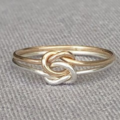 Love knot ring gold and silver