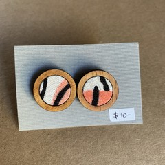Pink Abstract - Fabric and Wood earrings