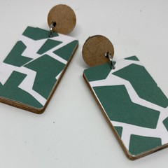 Green & white abstract print earrings