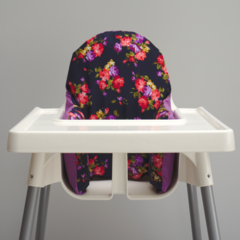 Navy & Purple Floral IKEA High Chair Cushion Cover