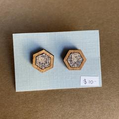 Cream and Denim Blue - Fabric and Wood earrings