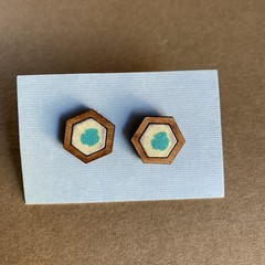 Aqua and yellow pastel - Fabric and Wood earrings