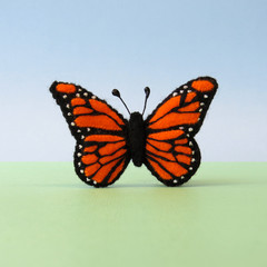 Monarch butterfly brooch, Wool felt pin, orange butterfly, teacher gift