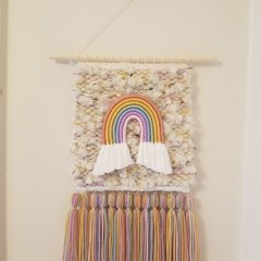 MADE TO ORDER Hand woven wall hanging/weave - rainbow tweed